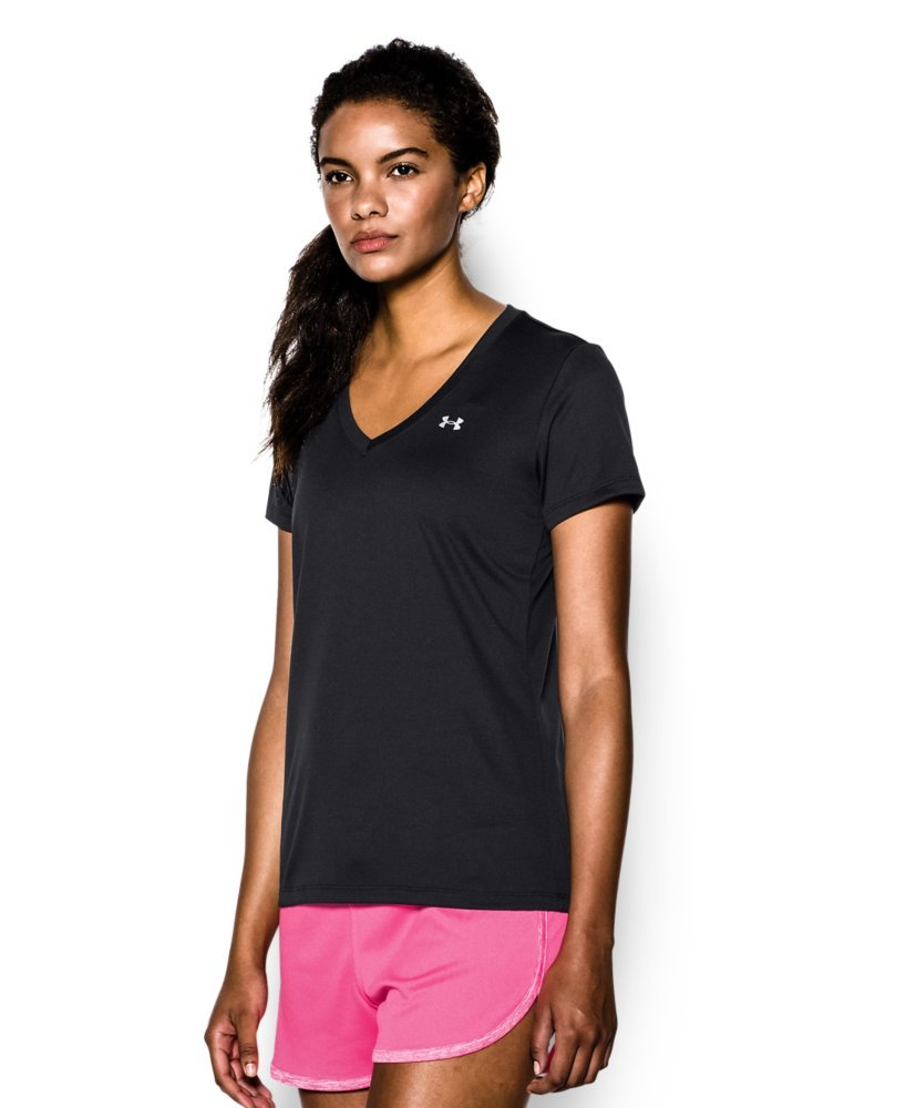 Under Armour Women's Tech V-Neck, Black /Metallic Silver, Small by Under Armour (Image #3)