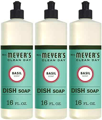 Mrs. Meyer's Clean Day Liquid Dish Soap, Basil, 16 ounce bottle (Pack of 3)