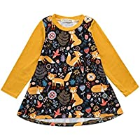 AMSKY❤Toddler Kids Baby Girls Long Sleeve Cartoon Fox Print Dress Clothes Outfits Little Girl Cotton Skirt Clothing
