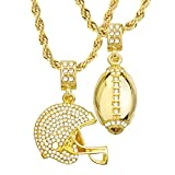 """Mens 14kt Gold Plated Football & Football Helmet Pendant 4 mm, 22"""" & 26"""" Double Rope Chain Set MHC 20 G"""