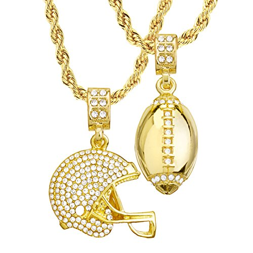 Mens 14kt Gold Plated Football & Football Helmet Pendant 4 mm, 22
