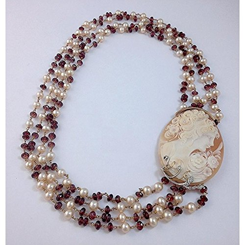 Collier artisanal Femme CDP _ Camée Or Rose Perles