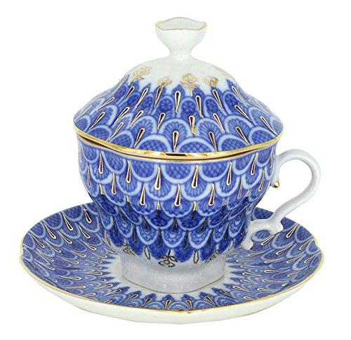 Lomonosov Porcelain Covered Tea Cup with Saucer Tea Maker Forget me Not 8.45 oz/250 ml