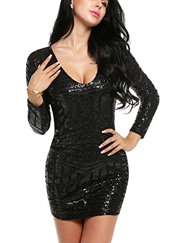 [ACEVOG Women's V Neck Long Sleeve Sequined Cocktail Mini Dress Party Clubwear evening Dress (XL-Large,] (Womens Black Sequin Short Dress)
