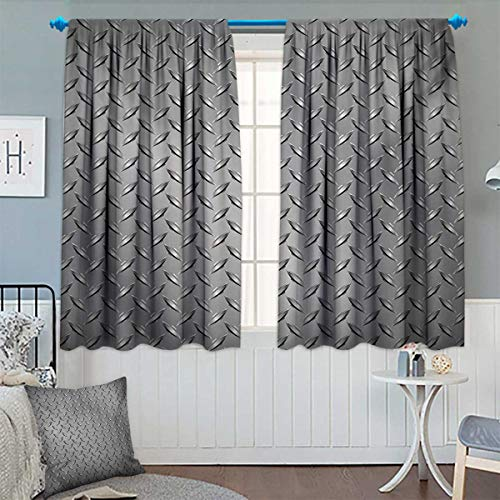Grey Patterned Drape for Glass Door Cross Wire Fence Netting Display with Diamond Plate Effects Chrome Kitsch Motif Print Waterproof Window Curtain 55