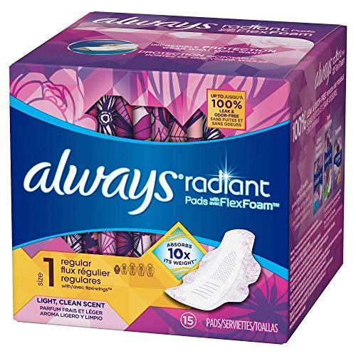 - Always Radiant Pads with Wings, Scented, 15 Count (Pack of 2)