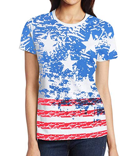 (USA Flag Vintage T Shirts for Women - Adult American Flag Graphic Patriotic Tee Shirt (XS))
