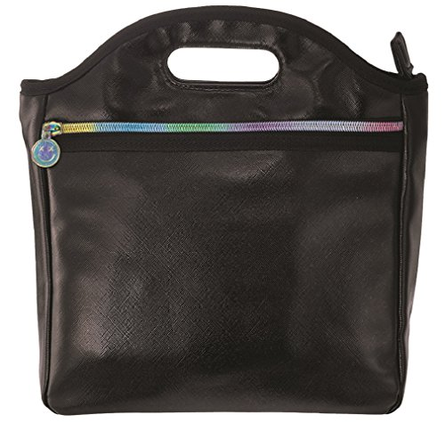 (iscream Black Metallic Faux Leather Easy Carry Wipe Clean Lined Insulated Lunch Tote)
