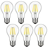 A19 LED Bulb Dimmable, Kohree 6W Edison Vintage LED Filament Light Bulb, 60W Equivalent Bulb, 4000K Daylight (Neutral White), E26 Base for Restaurant,Home,Reading Room,Office, Pack of 6