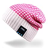 Mydeal Outdoor Premium Bluetooth Slouchy Knit Beanie Hat Cap with Stereo Headphone Headset Earphone Speaker Microphone Hands Free Talking for iPhone Samsung Android Smartphones,Christmas Gifts - Rose