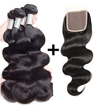 Perstar Brazilian Virgin Body Wave Hair Bundles With Closure 100%  Unprocessed Human Hair Weave