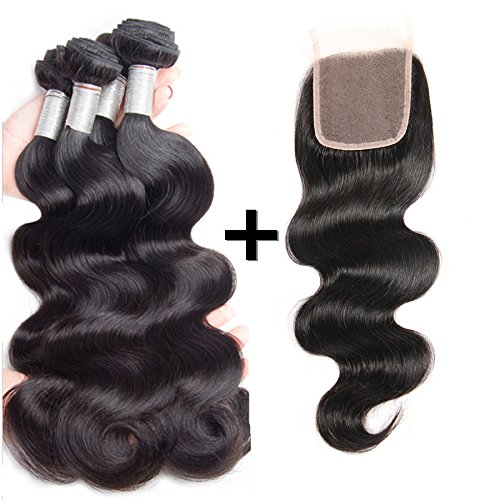 Perstar Hair Brazilian Body Wave with Closure Virgin Remy 3 Bundles with 44 lace closure 8A grade Uprocessed hair bundles with free part closure (20 22 24+20 free part, Natural Color)