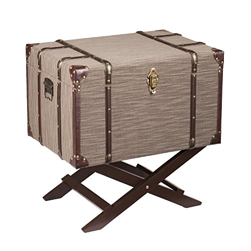 Southern Enterprises Devane Accent Trunk File Storage, Dark Beige Linen with Chocolate and Bronze (Bronze Leather Accent Table)