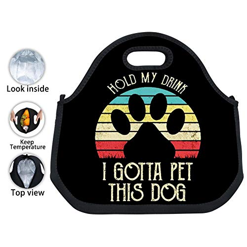 YPOHG Hold My Drink I Gotta Pet This Dog Printed Insulated Lunch Bag, Neoprene Lunch Bags for Women Kids Girls Men Teen Boys, Picnic School Travel Work Tin Foil Tote Bag