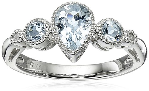 10k White Gold Pear Shaped Aquamarine 3-Stone Ring with Diamond-Accent, Size 6 Aquamarine 10k Gold Ring