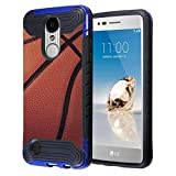 Capsule Case Compatible with LG Aristo 2 (X210), Aristo 2 Plus, Fortune 2, Rebel 3, Risio 3, Tribute Dynasty, Zone 4, K8, K8 Plus 2018 [Layer Slim Case Blue Black] - (Basketball)
