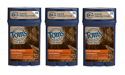Price comparison product image Tom's of Maine Natural Long Lasting Men's Deodorant Stick, Deep Forest, 2.25 Ounce, Pack of 3