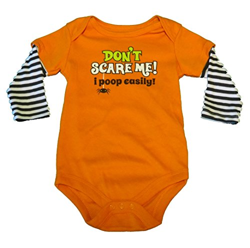 Assorted Witch, Pumpkin, Cat Boys' & Girls' Halloween Bodysuit Dress Up Outfit (18 Months, DON'T SCARE ME! I Poop -