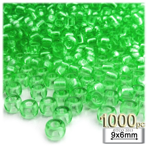 The Crafts Outlet 1000-Piece Round Plastic Transparent Pony Beads, 6 by 9mm, Light Green ()