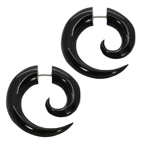 2 Finto Espirales Estensor falso piercing oreja fakeplug dilatador fake plug orgáncia madera cuerno hueso negro blanco , color:Horn - schwarz / horn black: ...