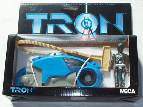 Disney NECA Tron Blue Light Cycle with Flynn Figure 20th Anniversary Collector's Edition Limited to 5000