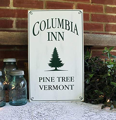 (Emily Columbia Inn Christmas Sign Holiday Decor Pine Tree Vermont Holiday Sign White Christmas Handcrafted 12 x 20 Inch Quote Decorative Sign Home Wooden Sign Plaque)