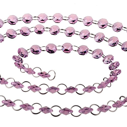 - H&D 6FT Glass Crystal 14mm Octagon Beads Chain Chandelier Prisms Hanging Wedding Garland (Pink)