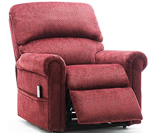 Electric Lift Chair 380 LB Heavy Duty,JULYFOX Infinite Position Oversize Lift Recliner Sofa Lifts You Up W/ 2 Button Remote Upholstered Tufted Velvet Stand Up Lift Chair Living Room Chair Wine Red