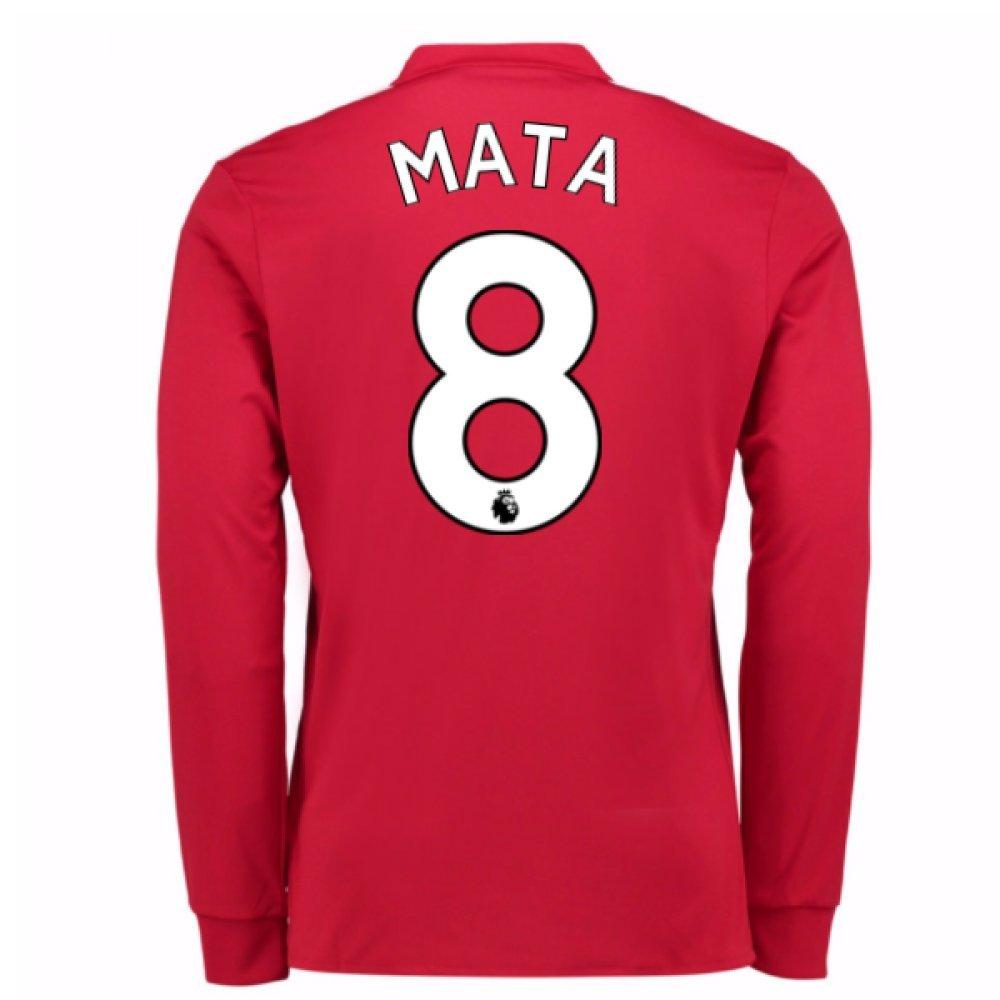 2017-2018 Man United Long Sleeve Home Football Soccer T-Shirt Trikot (Juan MATA 8)