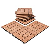 Composites Decking Flooring Solid Wood - Plastics Interlocking Flooring Deck Tile Windmill Pattern for Indoor and Outdoor (Set of 10)