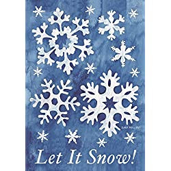 "Briarwood Lane Let It Snow! Winter Garden Flag Snowflakes 12.5"" x 18"" Seasonal"