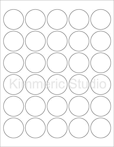 Crafts Inkjet - (12 SHEETS) 360 1-1/2 INCH (1.5) ROUND CIRCLE WHITE MATTE STICKERS FOR INKJET OR LASER PRINTERS. Size: 8-1/2
