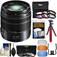 Panasonic Lumix G X Vario 14-140mm f/3.5-5.6 ASPH Power OIS Zoom Lens with 3 UV/CPL/ND8 & 6 Graduated Color Filters + Flex Tripod + Flash Diffuser Set + Kit