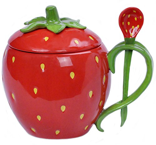 (Ceramic Fruit Shape Handwork Coffee Mug Water Teacup with Lid and Spoon- Watermelon /Strawberry /Orange)