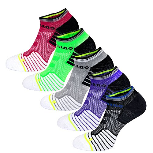 Aaronano 5 Pairs Women's Athletic Half Cushioned Socks for Running and Sports Size?6.5-8?