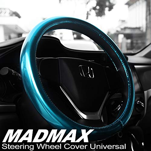 Madmax Steering Wheel Cover, Universal 14.5 Inches PU Leather Wheel Cover, Glossy Finish, Soft Padding, Durable, Odorless, Synthetic Leather, Comfort Grip Handle ... (Blue)