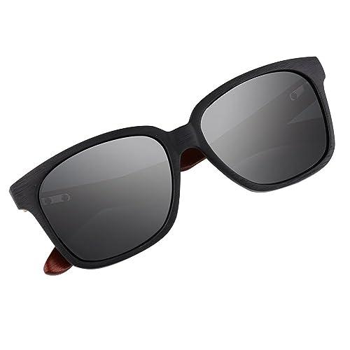 Occhiali da sole in legno di bambù, occhiali da sole fatti a mano in legno, uomini da donna bicchier...