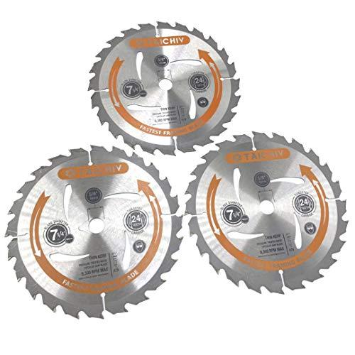 TAICHIV 7-1/4 inch 24T Circular Saw Blades, 3-Pack, High Performance Micro Grain Tungsten Carbide, 5/8