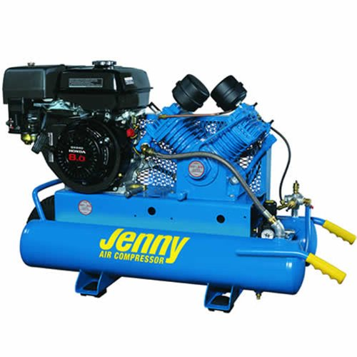 Jenny G9HGA-8P Single Stage Wheeled Portable Gasoline Engine Air Compressor with G Pump, 8 Gallon Tank, 9 HP Jenny Products Inc