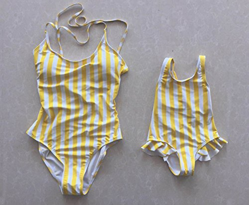 72edaad396138 doublebabyjoy Family Matching Bikini Swimsuit Mommy and Me One Piece Beach  Wear Yellow Stripes Monokini