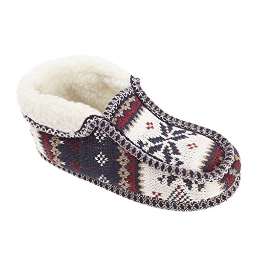 Slumberzzz Womens/Ladies Fair Isle Pattern Moccasin Slippers Navy fT3nSNO