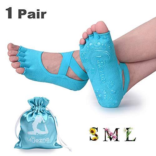 Muezna Non Slip Yoga Socks for Women, Toeless Anti-Skid Grip Pilates, Barre, Ballet, Bikram Workout Socks with Cotton (Lake Blue, Large)