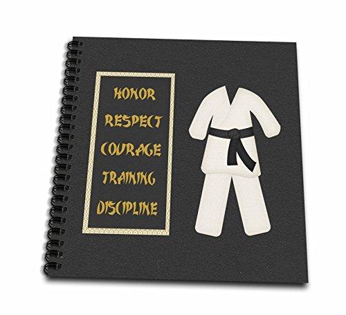 3dRose Karate Karategi Uniform Black Belt Honor Respect Courage Train Discipline-Memory Book, 12-inch (db_180798_2) (Twin Courage)