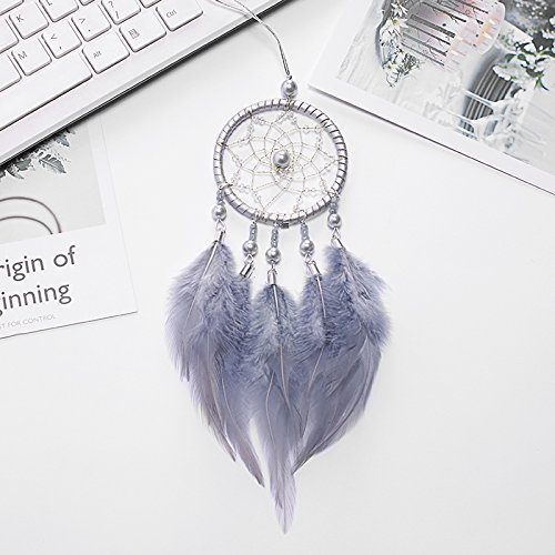Accessory Mirror - Mini Grey Dream Catcher For Car Rear View Mirror Accessories Beaded Feathers And Handmade Weave Web Boho Chic Hanging Decoration