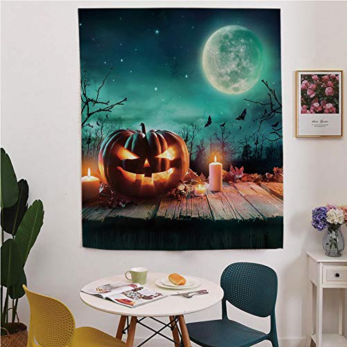 Halloween Blackout Window curtain,Free Punching Magic Stickers Curtain,Fantastic Magic Night Spooky Atmosphere Candles Pumpkin on Wooden Planks Print,for Living Room,study, kitchen, dormitory, -