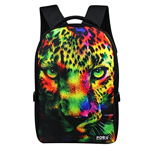 Leopard S(40x26x13cm) FOR U DESIGNS Women's Camouflage Tiger Print School Bag Durable Backpacks L(47x29x14cm) bluee butterfly