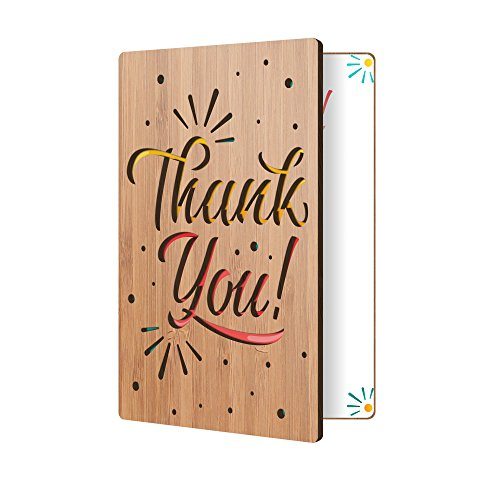 Thank You Card: Real Bamboo Wood Greeting Card With Fun Confetti Thank You Design, Premium Handmade Wooden Card Perfect Way To Say Thank You