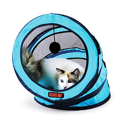 EgBert Pieghevole di Stoccaggio A Spirale Pet Cat Tunnel Giocattoli Respirabile Pet Gatti Formazione Giocattolo Diverdeente Gatto Tunnel Casa Giocattoli - Blu
