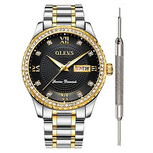 OLEVS Diamond Watch Black Wrist Watch for Men Waterproof on Sale Business Inexpensive Luxury Watches for Men Calendar Date Men's Watch Stainless Steel Analog Quartz Watch Gift