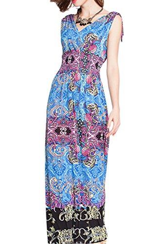 Floral Patchwork impresión Colorblock Bohemia de las mujeres vestidos Maxi Blue